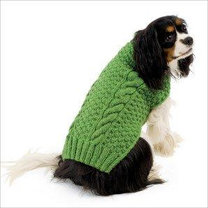 bright green cable knit