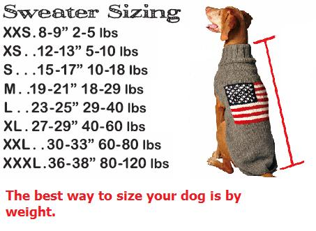 Sizing Chart Chilly Dog Sweaters