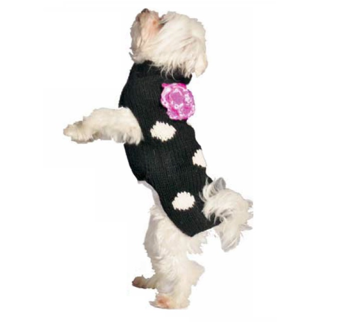 Black Polka Dot Pink Flower Dog Sweater - Chilly Dog Sweaters