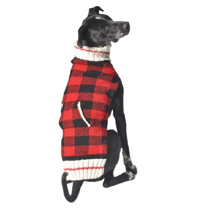 Buffalo Plaid Hand Knit Wool Dog Sweater Chilly Dog Sweaters