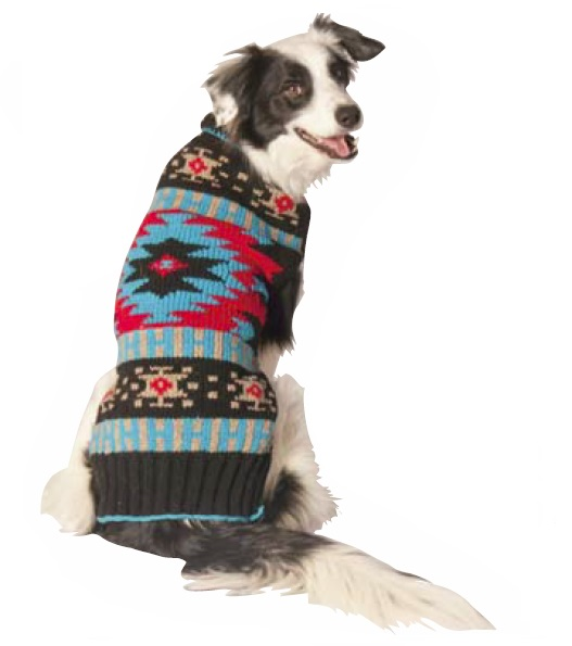 Black Southwest Shawl Collar Dog Sweater Chilly Dog Sweaters