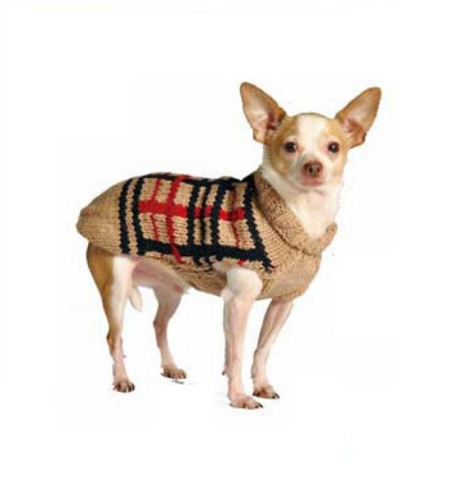 Tan Plaid Dog Sweater