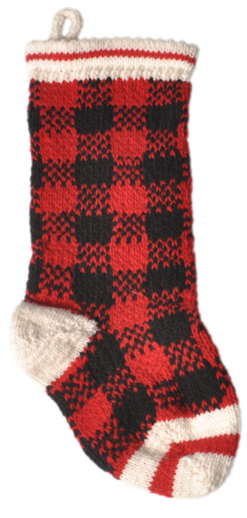 hand knit wool buffalo plaid christmas stocking - Plaid Christmas Stockings